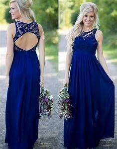2017 midnight blue bridesmaid dresses lace top chiffon With midnight blue wedding dress