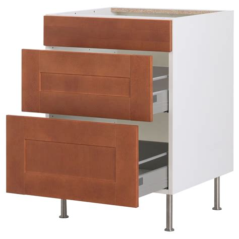 akurum base cabinet with 3 drawers birch effect 196