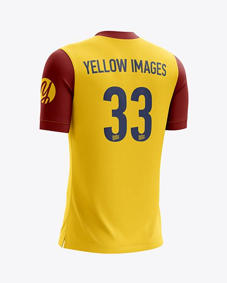 Men's full soccer team kit mockup (hero shot) Men's Soccer V-Neck Jersey mockup (Back Half Side View) in ...