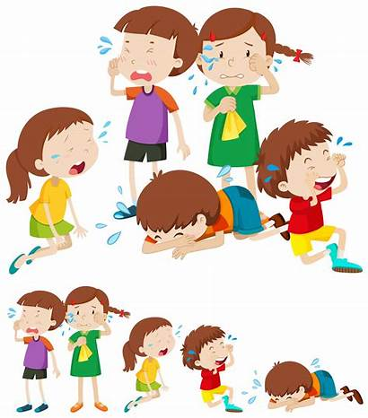 Sad Children Crying Clipart Child Many Vector