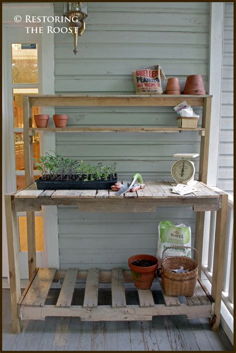restoring  roost diy wood pallet potting bench