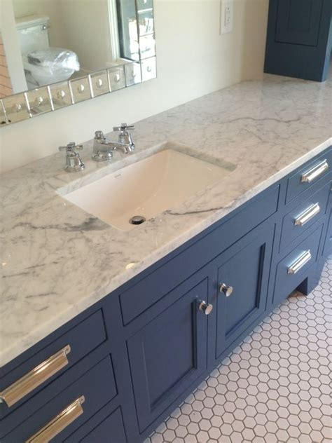 Blue Bathroom Cabinets by Marble Counter Slate Blue Cabinets Hex Tile And Modern