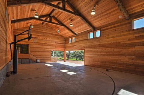 llano ranch rustic home gym austin  cornerstone architects