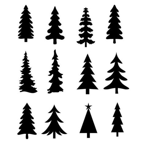 Christmas tree sneak peek and materials list →. Christmas Tree Evergreen Clipart Silhouettes eps dxf pdf png