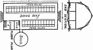Vintage Dairy Barn Floor Plan with Gambrel Roof & Silo ...