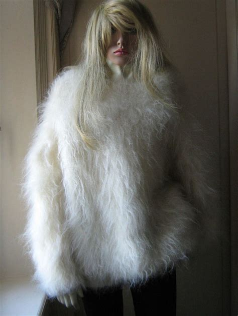 fluffy hayfield angora goat mohair crew neck ivory
