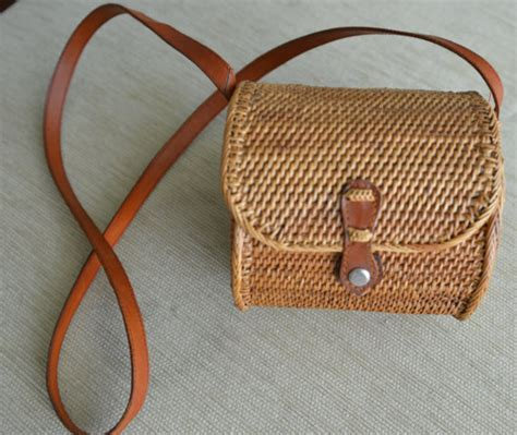 black pillow cases basket purse woven rattan bag with brown by