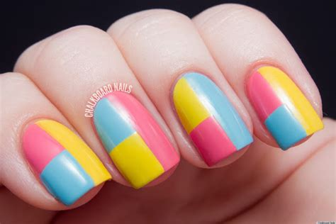 Nail Art Diy :  A Colorblock Manicure With Mod Appeal