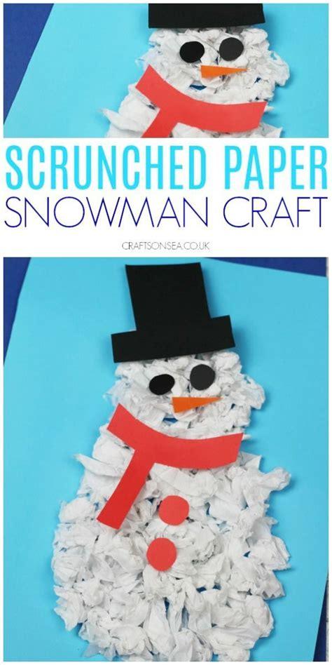 scrunched paper snowman craft snowman crafts winter