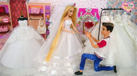 barbie ken rapunzel dolls wedding shopping robe de mari 233 e poup 233 e barbie boneka gaun