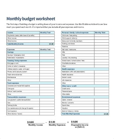 Sample Monthly Budget Sheet  10+ Examples In Pdf, Word