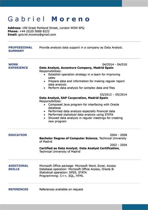 Sle Resume With Picture Template by Cv Exles Doc Word Cv Builder Cv Exle