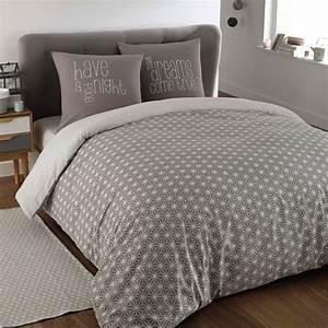 Maison Du Monde Housse De Couette : parure de lit 240 x 260 cm en coton grise kimono maisons du monde ~ Teatrodelosmanantiales.com Idées de Décoration