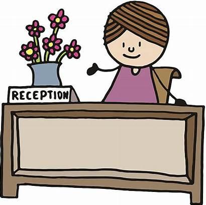 Desk Receptionist Reception Cartoon Recepcionista Clip Illustrations