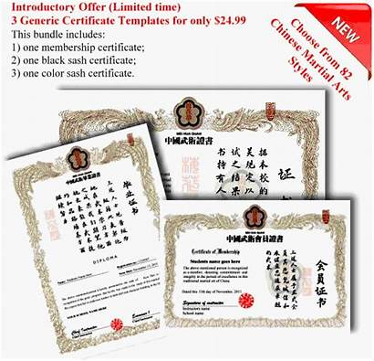 Martial Arts Certificates Generic Certificate Chinese Templates