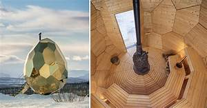A mirrored golden egg sauna is hatched in sweden colossal for A mirrored golden egg sauna is hatched in sweden