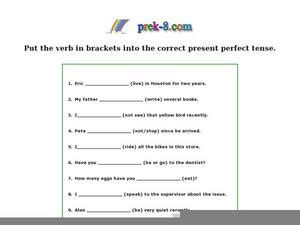 Present Perfect Tense Practice Worksheet For 2nd  6th Grade  Lesson Planet