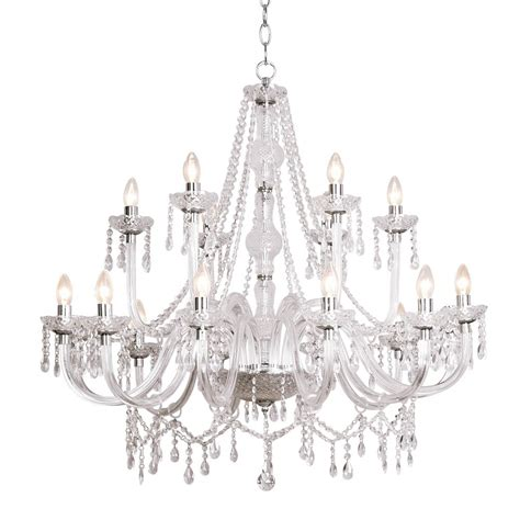 Large Traditional Chandelier In Chrome With Glass Droplet
