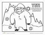 Yeti Coloring Worksheets Worksheet Pages Nepal Education Printables Cultures Community Thing Creatures Mythical Grade Kindergarten Cute sketch template