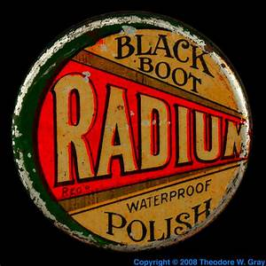 Radium boot polish, a sample of the element Radium in the ...