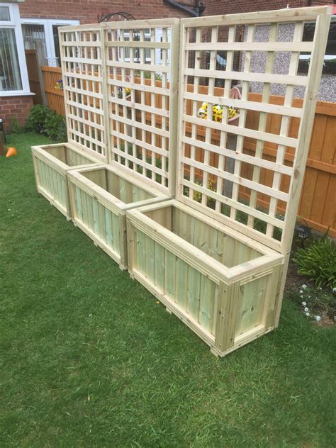 planters with trellis wooden planters with trellis garden decking planter local delivery or postage ebay