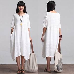 loose fitting long maxi dress summer dress in white With robe d été en coton