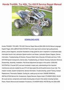 Honda Trx450r Trx 450r Trx 450 R Service Repa By