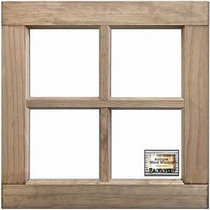 "Salvaged 4-Pane Wood Window Frame-Weathered Wood 16""X16""X1 ..."