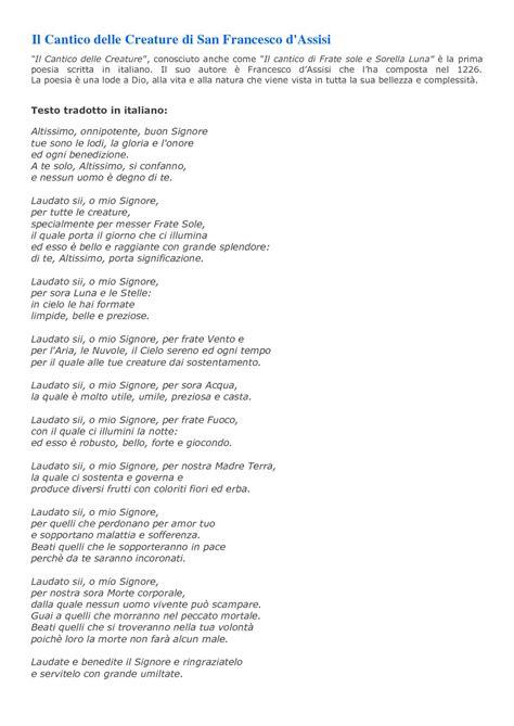 cantico delle creature testo italiano per bambini calam 233 o 2016111785227 cantico delle creature