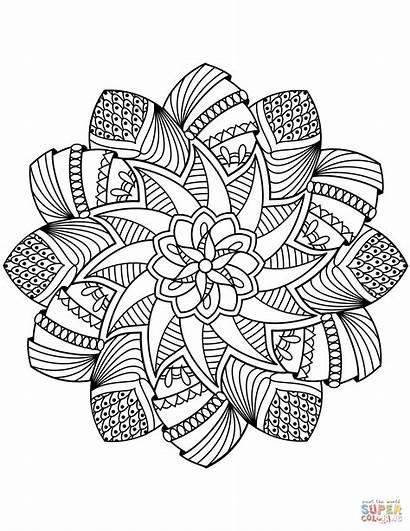 Mandala Coloring Pages Flower Adults Printable Mandalas