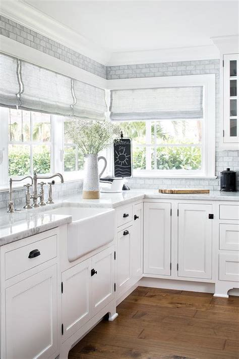 square oil rubbed bronze knobs  white shaker cabinets