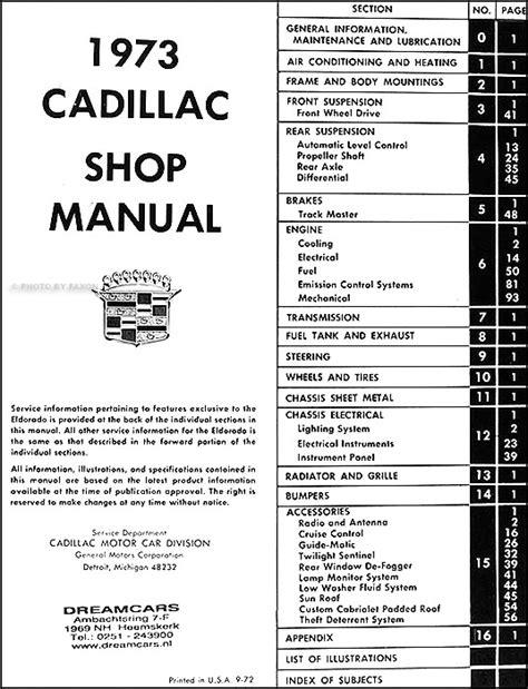 free online car repair manuals download 1993 cadillac fleetwood auto manual 1973 cadillac shop manual deville eldorado calais