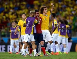 Brazil's David Luiz consoles Colombia's James Rodriguez ...