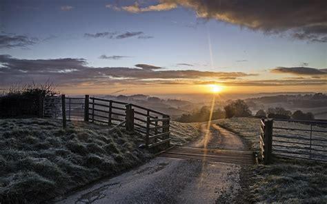 frosty field path fence sunset wallpapers frosty field