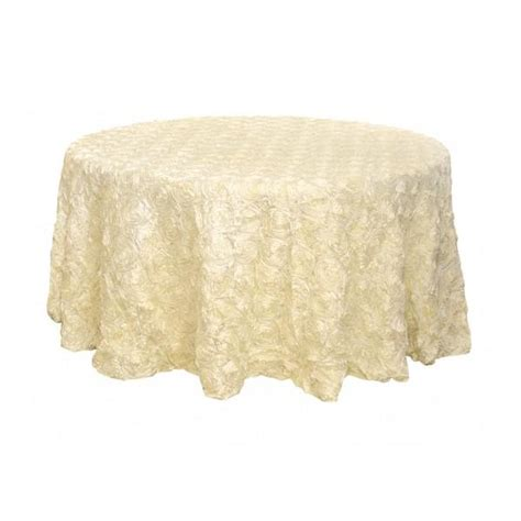 "120"" Ivory Ribbon Rosette Tablecloth From Wholesaleweddingch"