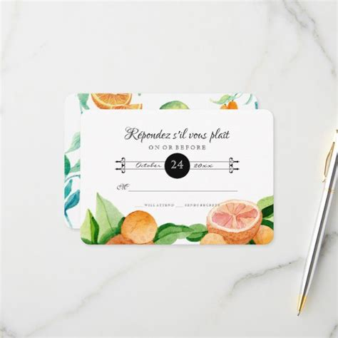 RSVP Response Citrus Orange Kumquat Lemon Simple #