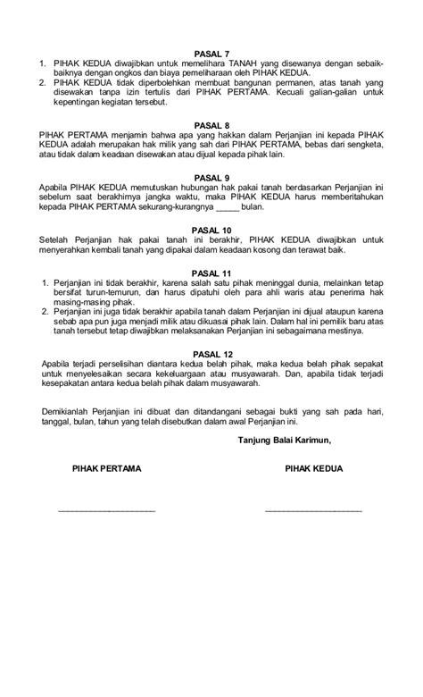 contoh surat perjanjian izin pakai surat perjanjian hak pakai tanah