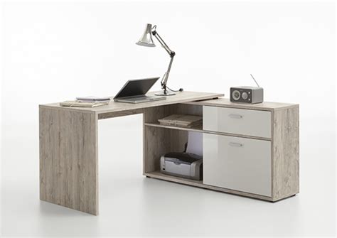 chambre d appoint bureau d 39 angle diego chene blanc brillant