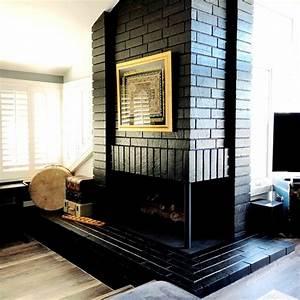 Painted, Black, Brick, Fireplace