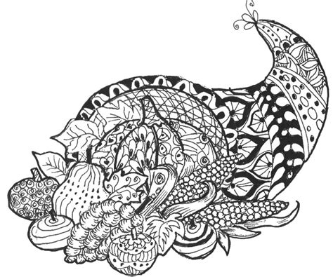 art therapy coloring page thanksgiving cornucopia