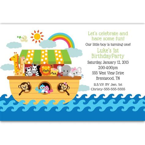 noahs ark baby shower 28018 noahs ark 1st personalized invite jpg 600 600 pixels