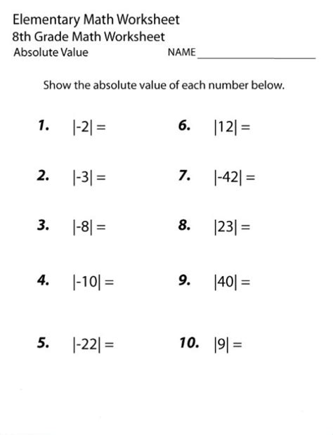 8th grade math worksheets with solutions them