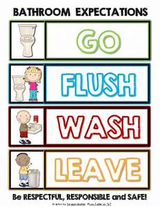 bathroom expectations go flushwash leave sign With bathroom signs for classroom