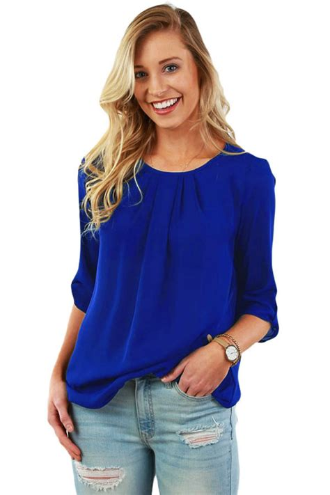 pin up blouse blue ruched detail pin up sleeve front blouse