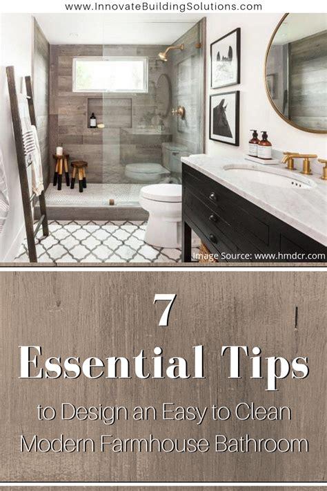 easy  clean modern farmhouse bathroom shower design