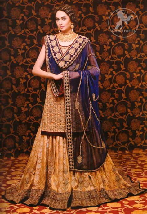 golden royal blue bridal dress pakistani wedding wear
