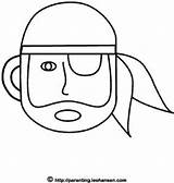 Face Pirate Paint Simple Coloring Printable Draw Halloween Painting sketch template