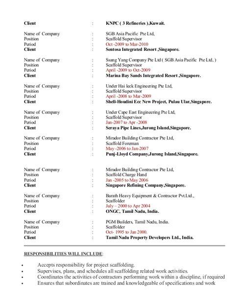 Resume Of Scaffolding Supervisor by Murukesh Cv
