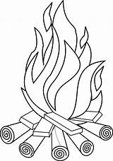 Coloring Pages Fire Bonfire sketch template