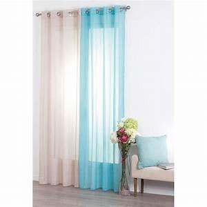 Voilage Bleu Turquoise : voilage 140x240cm rayure turquoise ~ Teatrodelosmanantiales.com Idées de Décoration